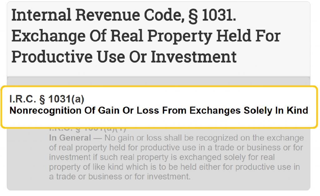 Internal Revenue Code Section 1031 Exchange